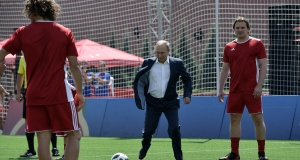Russian President Putin visits the World Cup Football Park in central Moscow