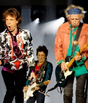 "Mick Jagger, Keith Richards and Ron Wood of the Rolling Stones perform during a concert of their ""No Filter"" European tour at the Orange Velodrome stadium in Marseille"