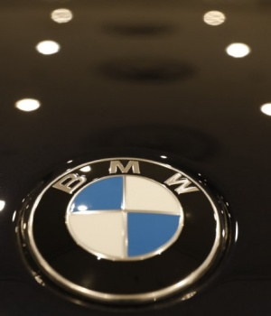 The BMW logo is seen on a vehicle at the New York Auto Show in New York