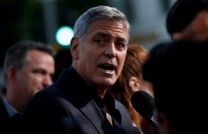 "Director Clooney is interviewed at the premiere for ""Suburbicon"" in Los Angeles"