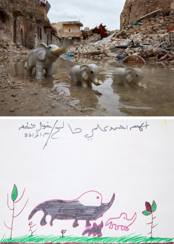 A drawing by an Iraqi child shows an elephant and calves next to a photo rendition with toy elephants in the old city of Mosul