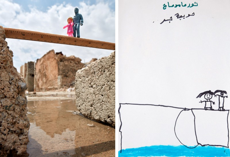 A drawing by an Iraqi child shows her and her father fleeing across a broken bridge next to a photo rendition with toy figures of a child and a man in old city of Mosul