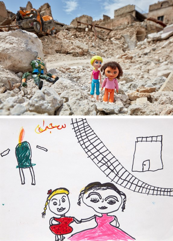 A drawing by an Iraqi child shows two siblings fleeing next to a dismembered body, next to a photo rendition in the old city of Mosul