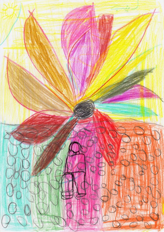 A drawing by an Iraqi refugee girl depicts a scene of Islamic militants stoning a woman