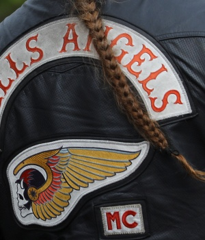 A member of the Hells Angels attends the funeral of a shot Hells Angels in Giessen