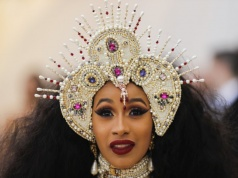 """Rapper Cardi B arrives at the Metropolitan Museum of Art Costume Institute Gala to celebrate the opening of """"Heavenly Bodies: Fashion and the Catholic Imagination"""" in New York"""