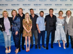 "Judy Craymer, Christine Baranski, Stellan Skarsgard, Amanda Seyfried, Bjorn Ulvaeus, Pierce Brosnan, Lily James and Benny Andersson pose at a photocall ahead of the Sweden gala premiere of the movie ""Mamma Mia! Here We Go Again"" in Stockholm"