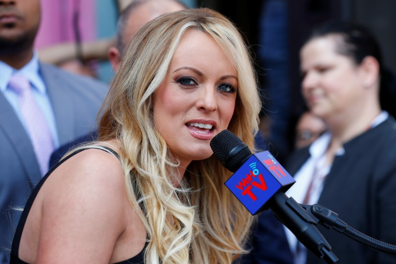 Stormy Daniels speaks during a ceremony in her honor in West Hollywood, California
