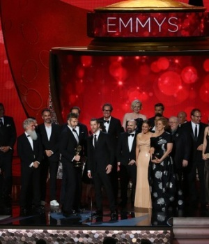 Executive Producers Benioff and Weiss accept the award for Oustanding Drama Series with the cast and crew at the 68th Primetime Emmy Awards in Los Angeles