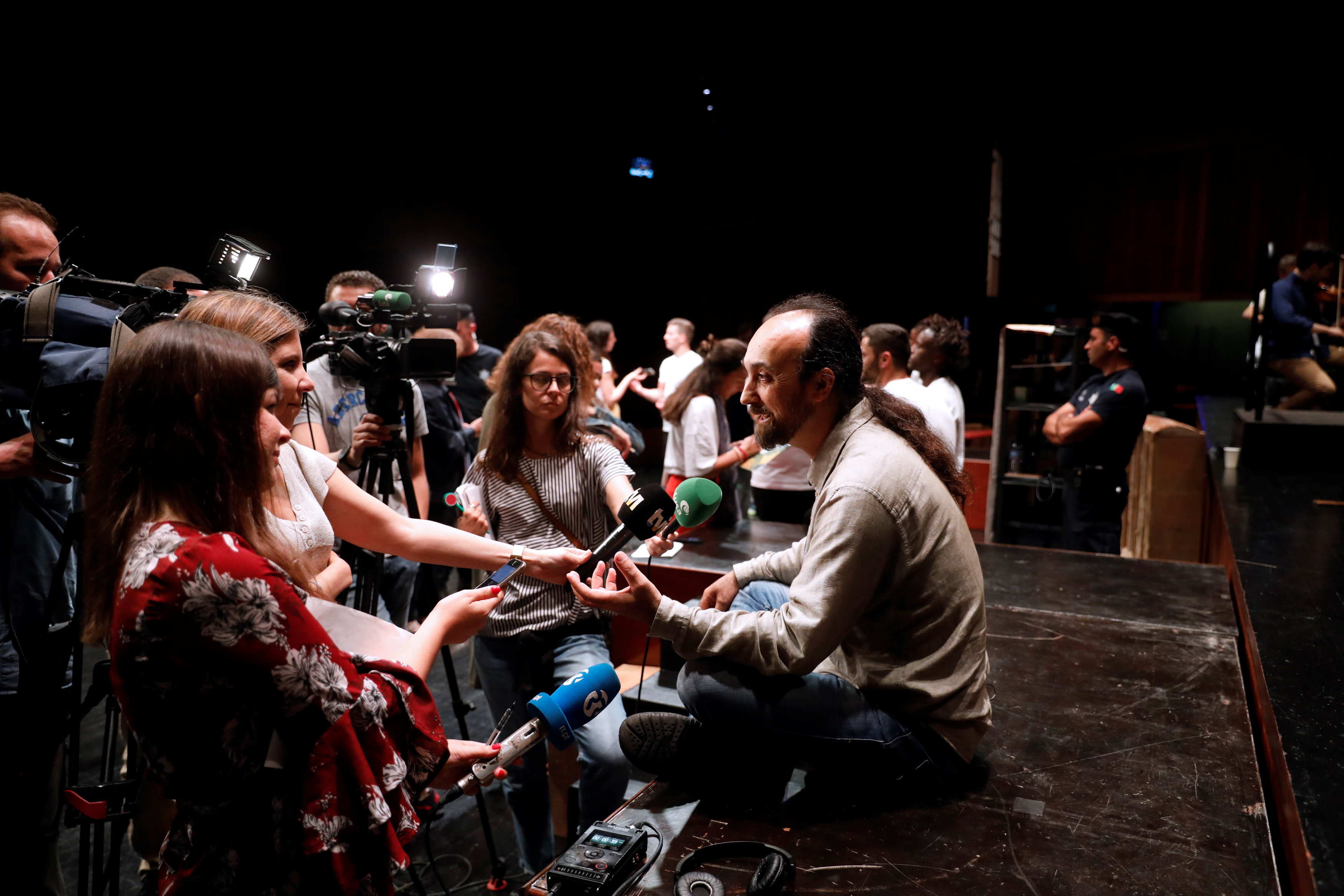 Paulo Lameiro, director of the Opera in Prison project, speaks to the media after a rehearsal at Calouste Gulbenkian Foundation in Lisbon