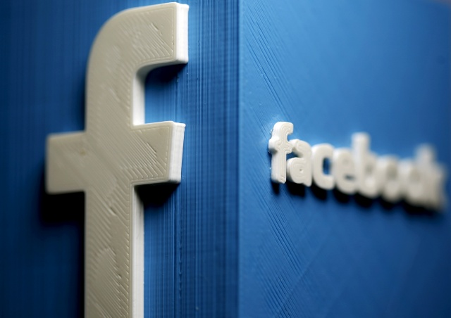A 3D plastic representation of the Facebook logo is seen in this illustration in Zenica