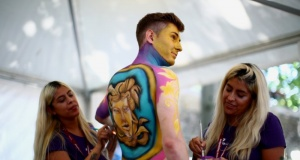 """Artists paint a model during the """"World Bodypainting Festival 2018"""" in Klagenfurt"""
