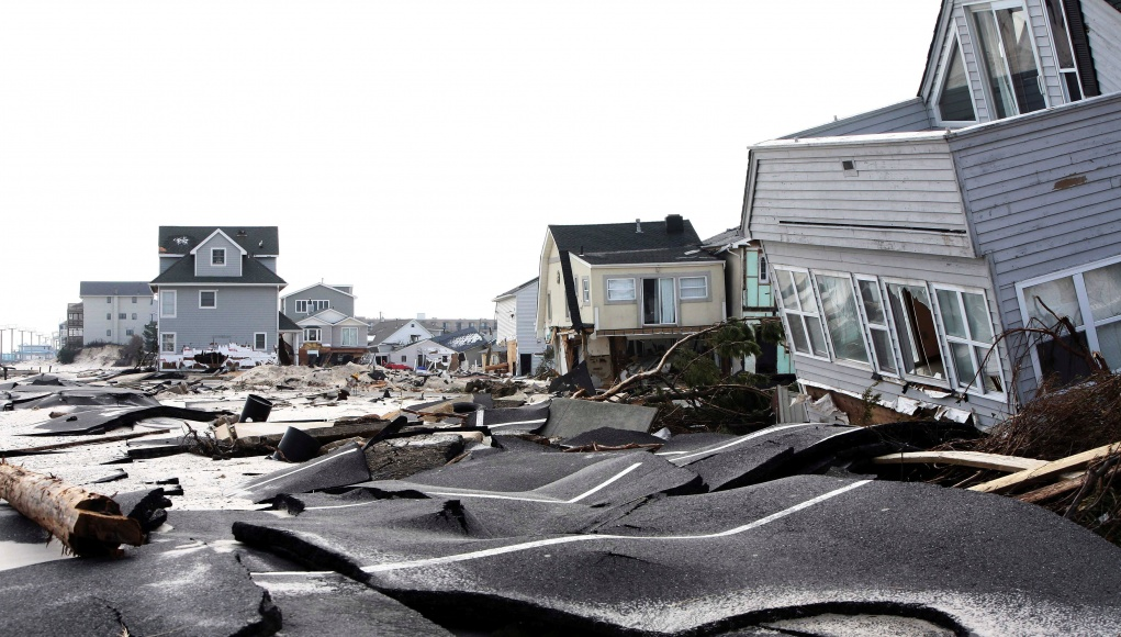 Streets damaged during Hurricane Sandy are seen in Ortley Beach