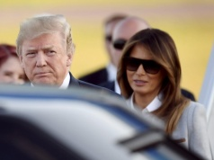 U.S. President Trump and first lady Melania arrives in Vantaa