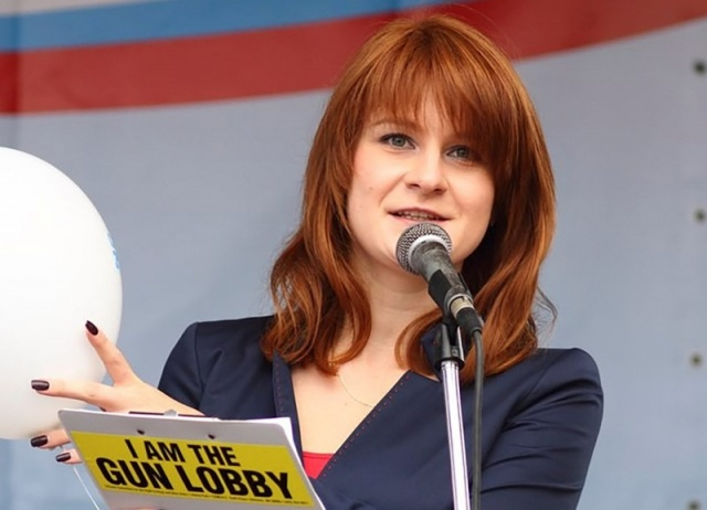Public figure Maria Butina delivers a speech during a rally to demand the expanding of rights of Russian citizens