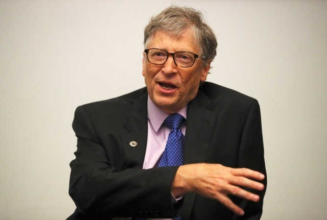 Bill Gates speaks during an interview with Reuters in London