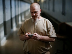 Inmate Steven Goff uses his JPay tablet device inside the East Jersey State Prison in Rahway, New Jersey
