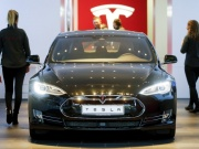 A Tesla car 'Model S' sits in a dealership in Berlin