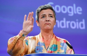 European Competition Commissioner Margrethe Vestager addresses a news conference on Google in Brussels