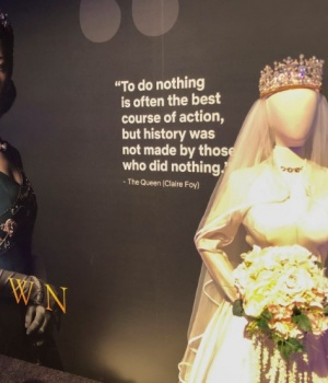 """Netflix displays a costume from """"The Crown"""" series at an exhibition promoting the company's shows for Emmy consideration in Los Angeles"""