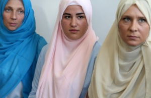Bosnian Muslim brides wait for a collective Sharia wedding ceremony for sixty couples in Sarajevo