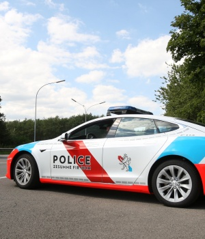 A Tesla Model S car used as Grand Ducal's police patrol car is pictured in Luxembourg
