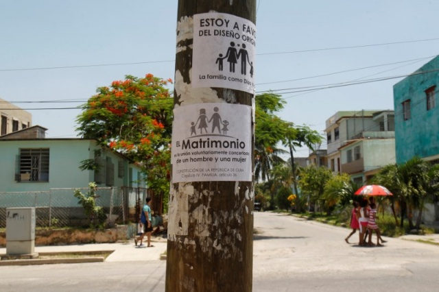 A placard opposing gay marriage is seen on a pole in Havana