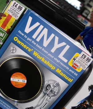 Shoppers browse record albums at HMV music store in London, Britain