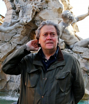 U.S. President Trump's former chief strategist Bannon poses in Piazza Navona in Rome