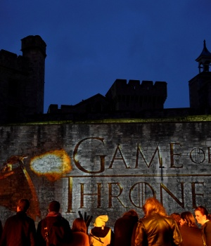 "Fans wait for guests to arrive at the world premiere of the television fantasy drama ""Game of Thrones"" series 5 at The Tower of London"
