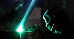 A worker at German manufacturer of silos and liquid tankers, Feldbinder Special Vehicles, welds aluminium at the company's plant in Winsen