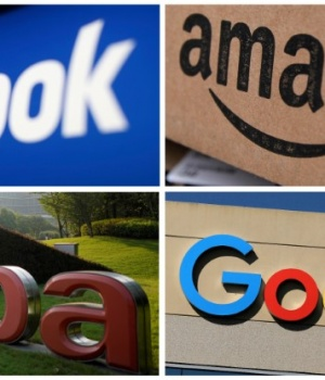 Facebook Amazon Alibaba and Google logos in combination photo from Reuters files