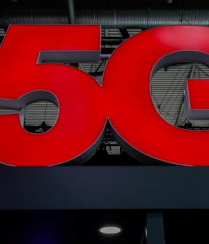 A 5G sign is seen during the Mobile World Congress in Barcelona
