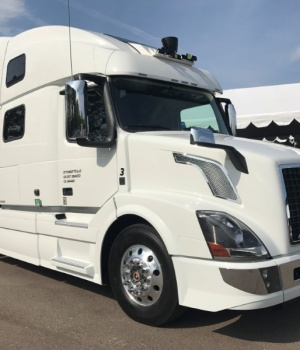 A partially self driving Uber semi truck at the Mcity autonomous vehicle testing facility in Ann Arbor