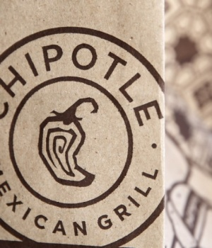 A Chipotle logo is seen on one of their bags in Manhattan, New York