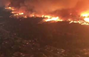 Aerial view of an area affected by wildfire in Redding, California