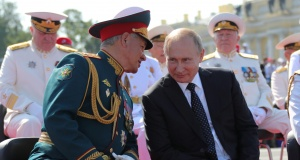 Russian President Putin and Defence Minister Shoigu attend the Navy Day parade in St. Petersburg