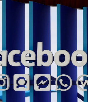 A Facebook panel is seen during the Cannes Lions International Festival of Creativity, in Cannes