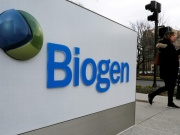 A sign marks a Biogen facility in Cambridge