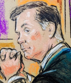 Paul Manafort sits in federal court as the first trial of Special Counsel Robert Mueller's Russia probe got underway in Alexandria