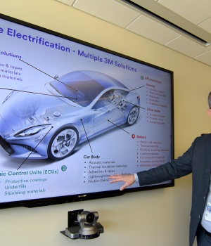 Eby, vice president of 3Ms automotive electrification program shows off a number of product areas in St. Paul