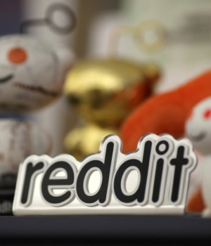 File photo of Reddit mascots on display at the company's headquarters in San Francisco