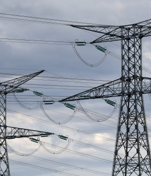 High-tension electrical power lines are seen near the Golfech nuclear plant on the border of the Garonne River between Agen and Toulouse