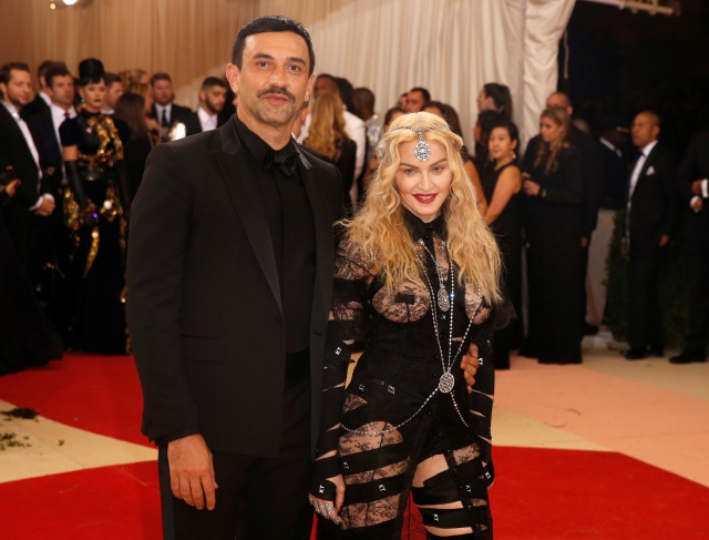 Singer Madonna arrives with fashion designer Riccardo Tisci at the Met Gala in New York