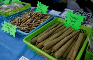 Various-sized joints for sale are pictured at the annual 4/20 marijuana event at Sunset Beach in Vancouver