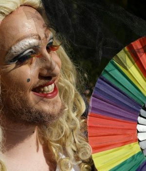 A participant takes part in Jerusalem's 17th annual Gay Pride Parade