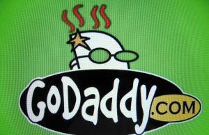 The logo for internet company GoDaddy inc is shown on a computer screen in this illustration photo in Encinitas California