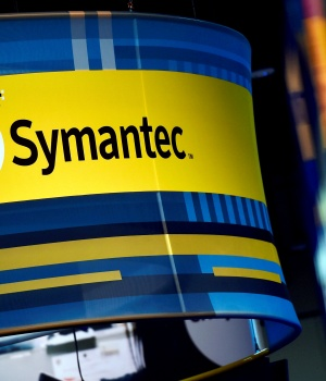 The Symantec booth is seen during the 2016 Black Hat cyber-security conference in Las Vegas