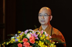 Xuecheng, the abbot of the Longquan Temple and then deputy secretary of the Buddhist Association of China, speaks during a Buddhist culture festival in Shenzhen