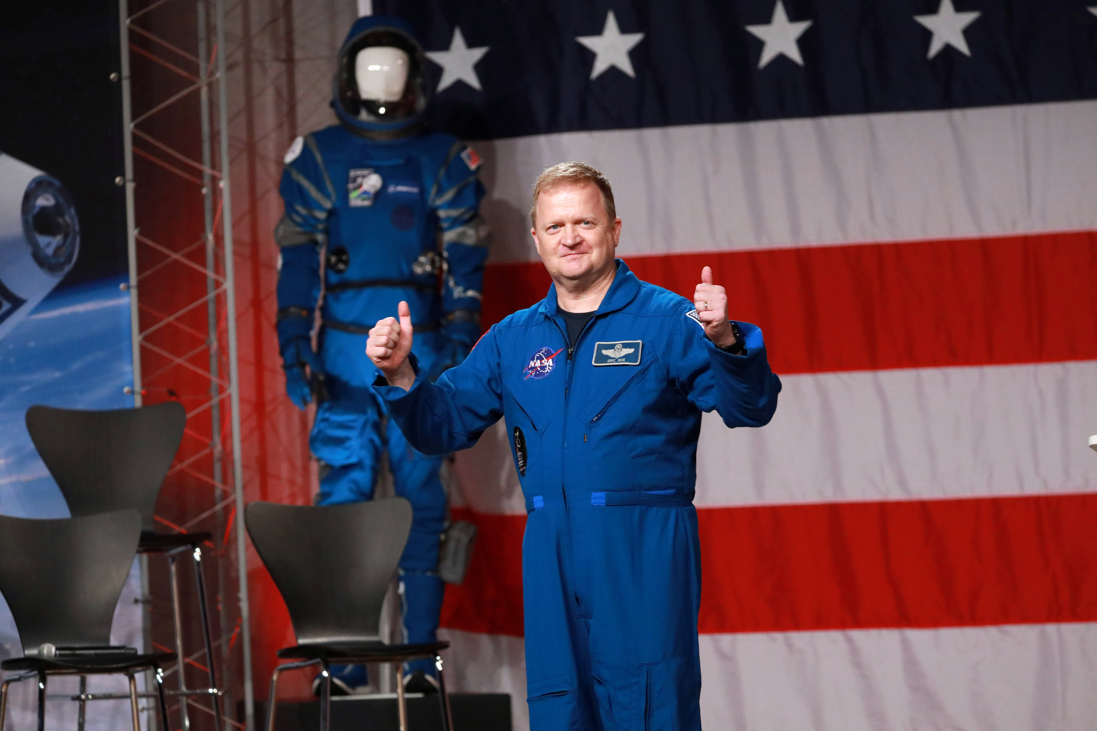 Astronaut Boy is introduced as NASA announces Boeing CST-100 Starliner and SpaceX Crew Dragon in Houston